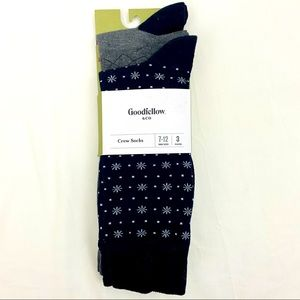 3 Pk Snowflake Crew Socks Casual Goodfellow